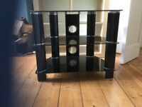 TV stand , black glass immaculate condition , bought from John Lewis