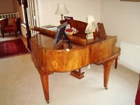 Challen Baby Grand Piano in a beautiful figured Walnut? case and stool