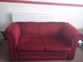 2 seater sofa velvet maroon love nest