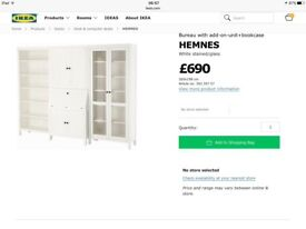 GREY / BROWN IKEA HEMNES BUREAU WITH ADD-ON UNIT AND 2 BOOKCASES (1 WITH GLASS DOORS