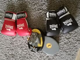 Junior boxing gloves and focus pads set