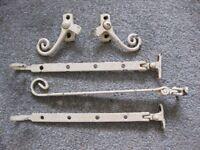 Cast Iron ' Monkey Tail ' Casement Window stays & fasteners.