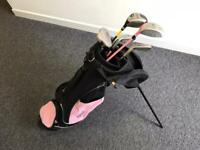 Girls golf set with stand bag and carrying harness