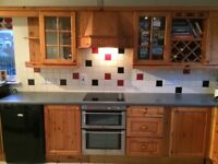Pine kitchen units with grey worktop in good condition. Oven, hob and sink included in price