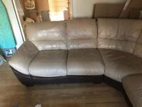 Leather corner sofa.