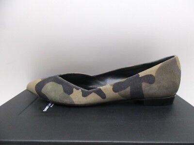 Saint Laurent Paris 10 Decolette Ballerina Flats Shoes Camouflage Sable 38 8