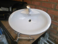 Sink / washbasin (used) with tap and fittings