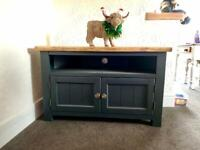 Solid pine hand painted tv unit