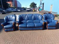 wood framed blue leather 3 seater sofa and 2 armchairs