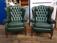 Saxon Green Queen Anne Chairs