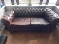 2 seater brown chesterfield sofa