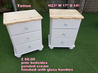pair of pine bedsides painted