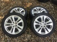 "GENUINE MERCEDES W212 A B C E CLASS 17"" ALLOYS SET 5x112 TYRES"