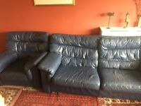 Blue leather 3-seater sofa and armchair £50 collection from twyford