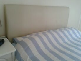 King size divan pocket sprung with draws and cream leather headboard excellent condition