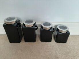 Tea, sugar, coffee canisters (Black ceramic)