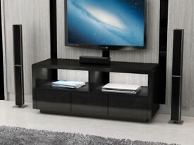 Black High Gloss LED Light TV unit with drawers Brand New in Box