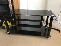 Black and silver glass tv stand/unit