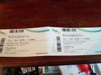 2 Stereophonics tickets (standing) - Birmingham Genting Arena - 1 March 2018
