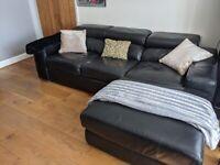 Cousins black leather sofa 3 seater
