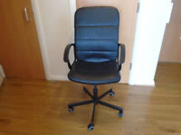 a BLACK LEATHER OFFICE/HOME CHAIR with ARMRESTS 5 WHEELS HEIGHT & TILT ADJUSTMENT, LIKE NEW
