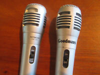Hitachi HMP 606 Dynamic Microphone and Goodmans Silver Microphone (both with leads)