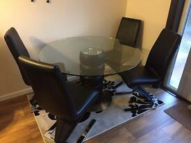 Modern Round-Oval glass -black Dining table with 4 black chairs
