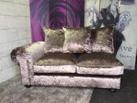 New Mink Crushed Velvet 2 Seater Corner Chaise Sofa With Scatter Back Cushions