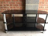 Black silver glass tv stand