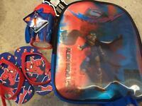 New Superman brand bag, bottle + spiderman slippers