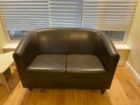 Faux leather tub sofa