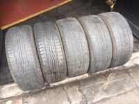 Set of 5 Bridgestone Dueler tyres