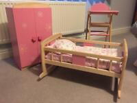 Doll's cot, high chair and wardrobe