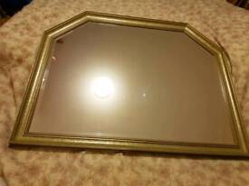 Mirror, beveled with wooden frame. Warwick Overmantel. Mantelpiece / mantel / other use