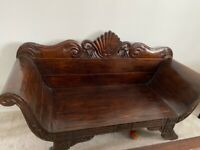 Lovely indonesian style dark wood settee.