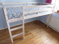 Thuka Shorty Mid Sleeper cabin bed in white wash finish incl mattress like new