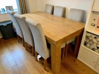Solid Oak Dining Table Seats 8 (with 6 chairs)