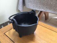 Antique cast iron three legged pot or cauldron