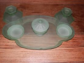 Opaque green glass dressing table set