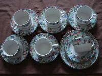 Jardin stoneware pottery tea set, 6 cups, saucers and cake plate. oven, dishwasher, microwave safe.