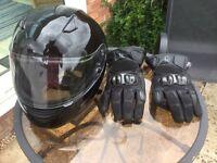 Full face Crash helmet and gloves size