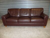 Italian Brown Leather 3+2-seater Suite (Sofa) with matching Footstool