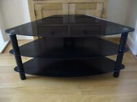 Serano black tempered glass corner TV stand S100CG12X / New (See details)