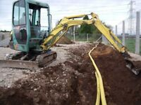 £120 a day Mini Digger hire with experienced driver. Foundations Drainage Rock hammer breaker soil