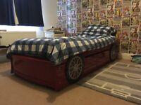 Child's Boys Racing Car Single Bed with underbed drawer storage