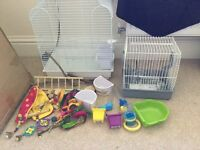 Budgie/Small bird cage, stand, travel cage and toys for sale