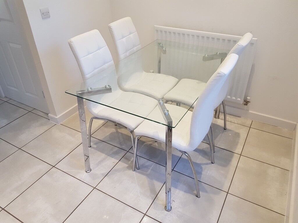 Dining Set 130 X 80 Cm Gl Table With 4 Upholstered Pu Chairs In Sherfield On Loddon Hampshire Gumtree