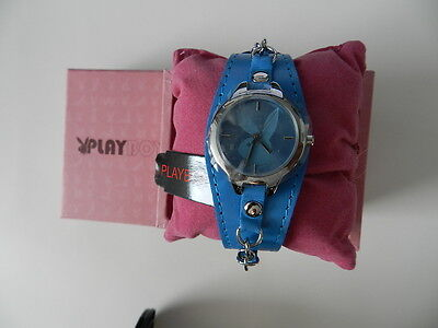 PLAYBOY Watch blue strap bunny face chain strap - Bunny Face Design