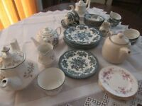 Selection of Teapots, teacups, saucers, plates etc. suitable for tea party.