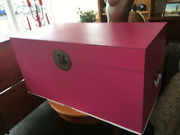 Brand New Nanjing Large Pink Ottoman Storage Chest Trunk